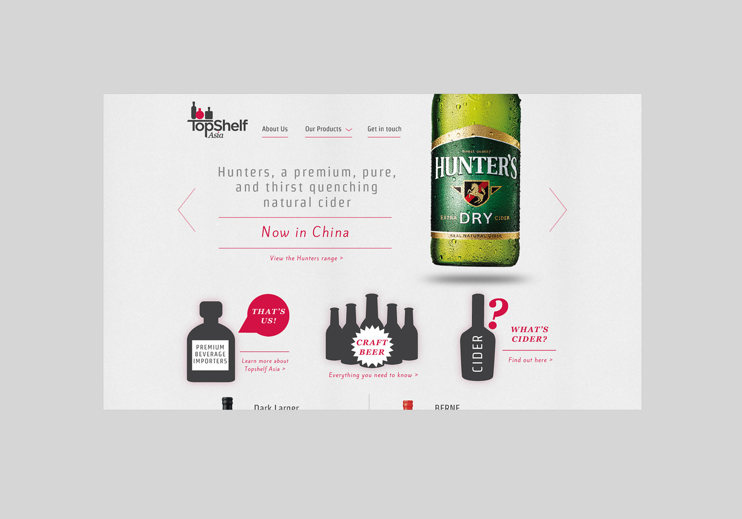 TopShelf Asia Beer Web Design