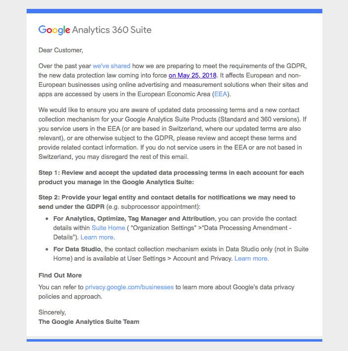 Google Website Data Protection GDPR Update